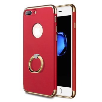 Harga NORTHJO 3 In 1 Slim Hard Cover Case Coated Non Slip Matte Surface Electroplate Frame with Metal Ring Buckle Bracket for Apple iPhone 7 Plus - Red - intl