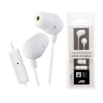 Harga JVC HA-FR37W Marshmellow Earbud Headphone Microphone Remote HAFR37 White - Intl