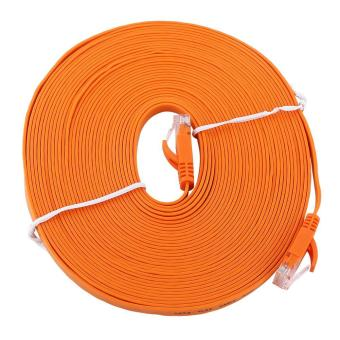 Harga RJ45 CAT6 Ethernet Network Flat LAN Cable UTP Patch Router Cables 1000M (Orange 10meters) - intl