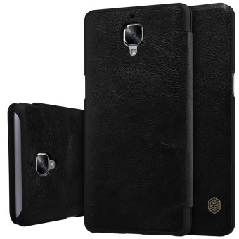 Harga Nillkin Qin Series Leather Flip Shockproof Cover Case For For OnePlus 3T / OnePlus 3 (Black) - intl