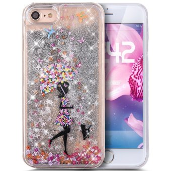 "Harga Case for iPhone 7 Plus, Comfkey Liquid Case for iPhone 7 Plus, Flower Umbrella Girl Art Painted Quicksand Flowing Liquid Floating Bling Glitter Sparkle Meteor Clear Hard Liquid Case for iPhone 7 Plus 5.5"" (Silver) - intl"