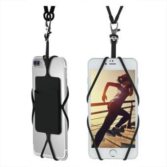 Harga Universal Silicone Phone Case Cover Holder with Sling Lanyard Necklace Wrist Strap for Cellphones(Black) - intl