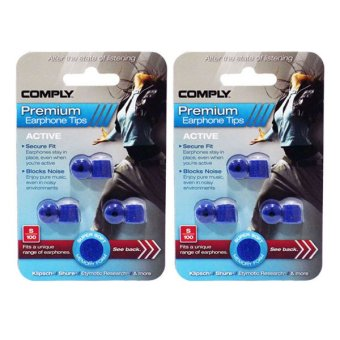 Harga [2-PACK BUNDLE]Comply Foam Medium Ear Tips Active S-100 Blueberry - 3 Pairs/pack