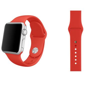 Harga Soft Silicone Watch Band Strap With Connector Adapter For Apple Watch iWatch 38mm (Red)
