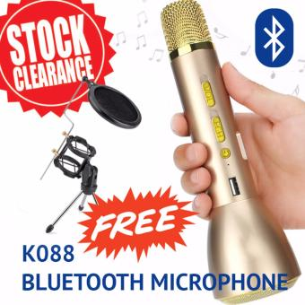 Harga High Grade Portable Magic Karaoke Microphone Wireless Bluetooth K088 Speaker Microphone KTV (Rose Gold)