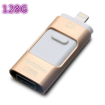 Harga Pen Drive for andorid/apple iphone 6s USB Flash Drive 128gb USB Stick andorid 4.5+ OTG Pendrive U Disk 3 in 1 memory stick USB 2.0(gold) - intl