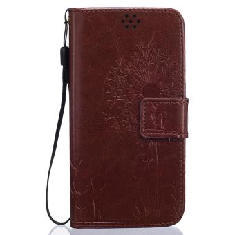 Harga Premium Magnetic Closure PU Leather Emboss Dandelion Wallet case Pattern with Card Slots Wrist Strap Flip Stand Cover for Samsung Galaxy J5 2016 / J510 - intl