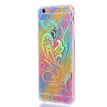 Harga Colorful rainbow plating Pteris TPU soft shell case for iphone 7 plus Reflective Cell phone Cases - intl