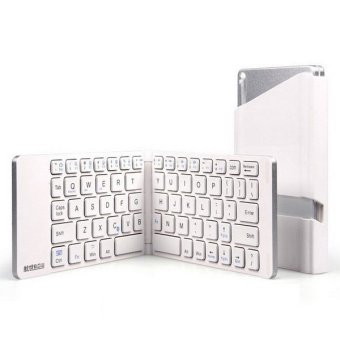 Harga Bluesky Portable Foldable Bluetooth Keyboard Ultra-slim Pocket Wireless Keyboard for iOS Android Windows PC Tablet (White)
