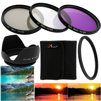 Harga 58mm Filter Set UV CPL FLD ND2 ND4 ND8 Lens Hood Cap for Canon 18-55mm