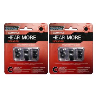 Harga [2-Pack Bundle] Comply T-160 Foam Medium Ear Tips Isolation (Black) 2 pairs/pk
