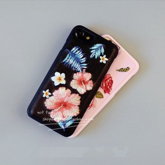 Harga IPhone7 7plus temperament female models in europe and america silk embroidery flowers phone shell soft shell apple 6 plus set