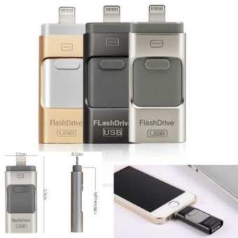 Harga 64GB i Flash Drive 3 in1 USB OTG Device Memory Stick For iPhone 5 6 7 Android - intl