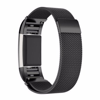 Harga Blusky Milanese Loop Stainless Steel Bracelet Smart Watch Strap + Connector for 2016 Fitbit Charge 2, Black - intl