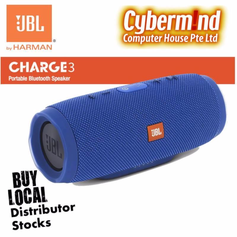 JBL Charge 3 Portable Waterproof Bluetooth Speaker (Blue) Singapore