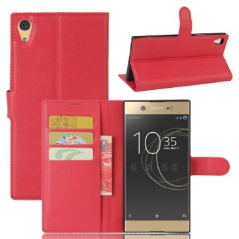Leather Flip Cover Protective Case For Sony Xperia XA1 Ultra (Red)- intl