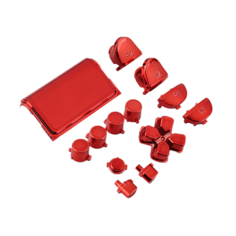 OH Chrome Button Replacement Mod Game Kit for Playstation 4 PS4 Controller Red