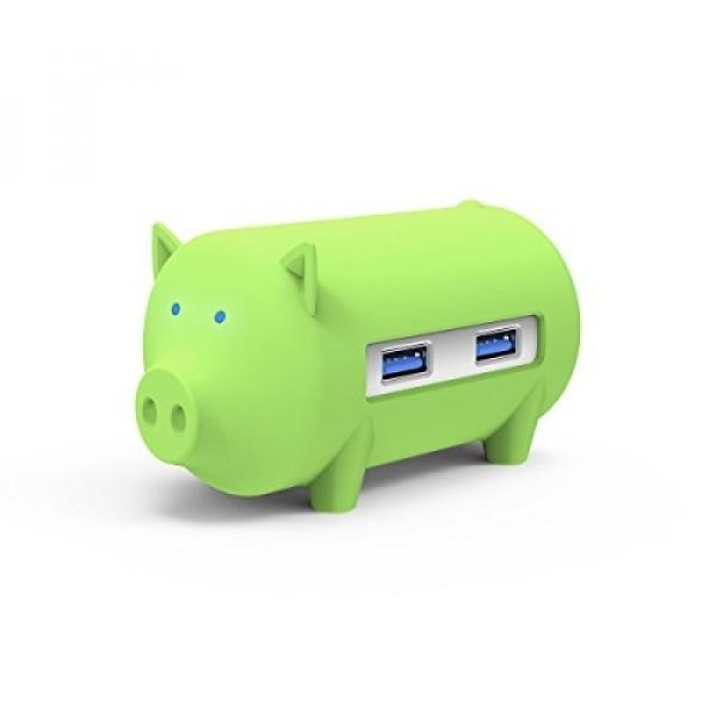 ORICO Cute Pig 3 Port USB3.0 Hub with TF / SD Card Reader for Windows, Mac OS, Linux [Support OTG Function] (green) - intl