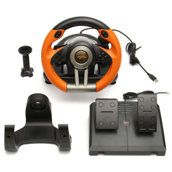 PXN-V3II Steering Wheel Racing Game Controller for PS3 PS4 XBOX ONE PC (Orange)