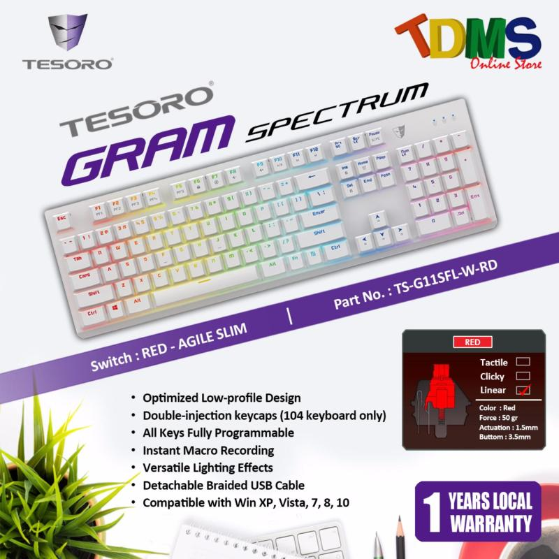 TESORO GRAM SPECTRUM OPTIMIZED LOW PROFILE DESIGN WHITE GAMING KEYBOARD WITH AGILE SILM RED SWITCH Singapore