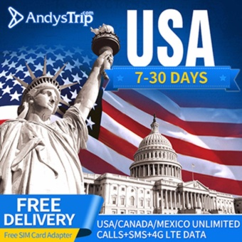 Harga Tmobile?USA SIM Card?4G Unlimited Data for 20 Days (+free SIM cardadapter)