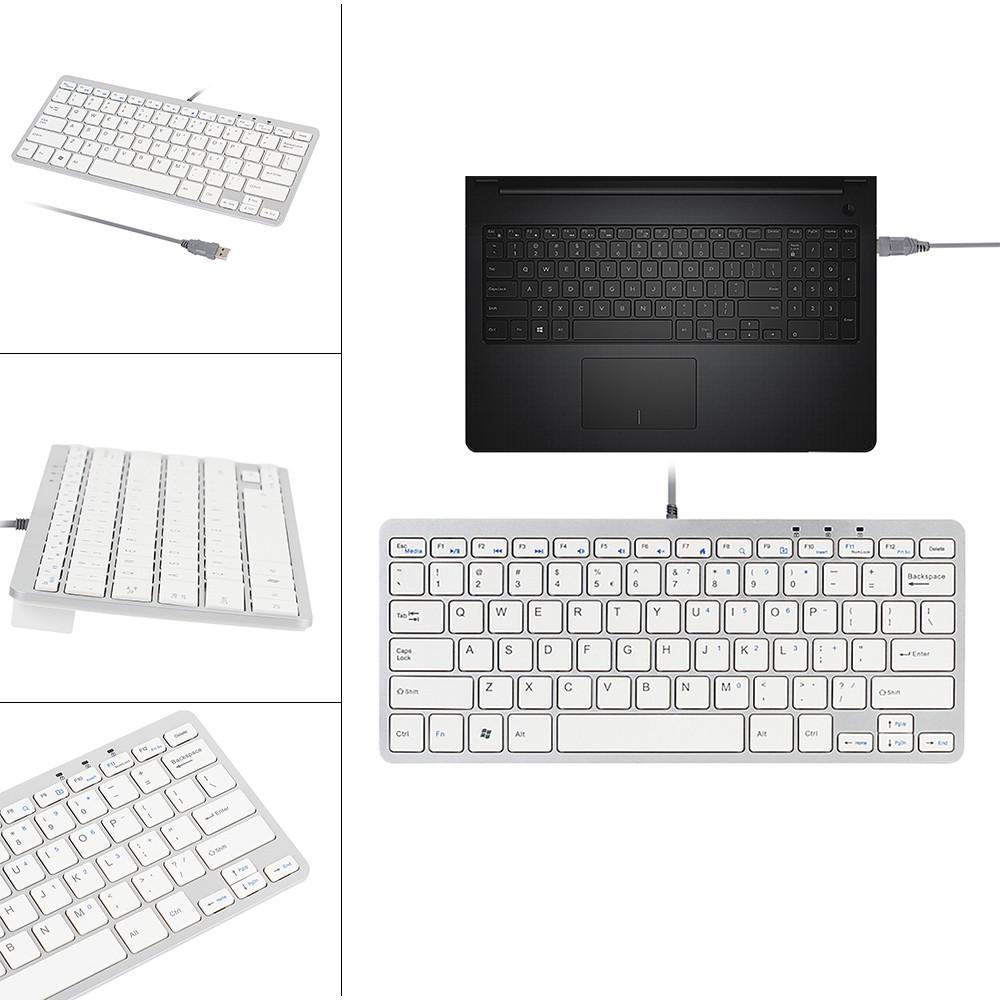 Ultra Thin Slim 78 Key Wired USB Mini PC Keyboard for PC Apple Mac ...