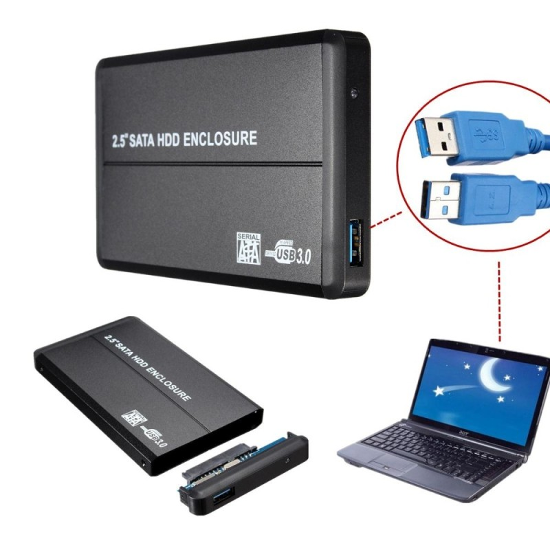 USB 3.0 2.5 IDE Hard Drive Disk HDD External Case Enclosure Box 5Gbps Max - intl