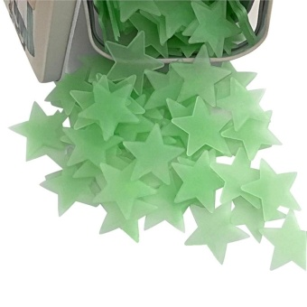 100Pcs Stars Wall Sticker Glow in the Dark Stars Decals (green) -intl