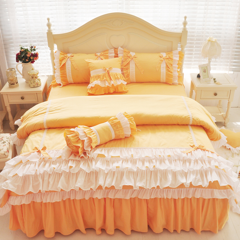 1.8 m bed Spring Cotton bed skirt lace four sets