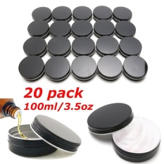 20 Pack 3.5oz Round Metal Tin Container Black Screw Top Lid Survival Storage - intl