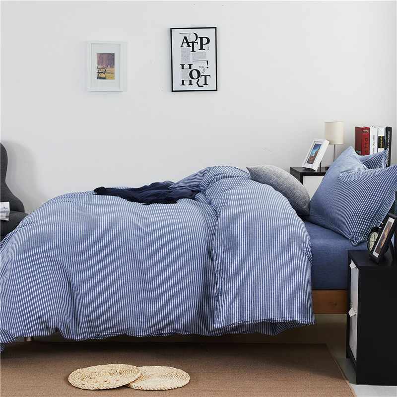 2017 New style Japanese unstamped minimalist washed cotton striped cotton kit Cotton Four sets of blue and white bed Li