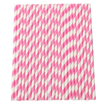 25Pcs Paper Drinking Striped Straws for Wedding Birthday Party Pink- intl