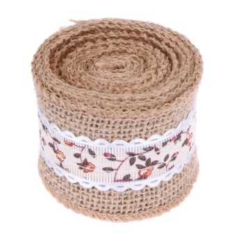 2m Jute Burlap Floral Lace Ribbon Christmas Party Wedding Decor(Orange) - intl