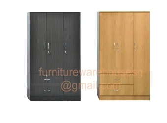 Harga 3 Door Wardrobe Cabinet (Cherry)