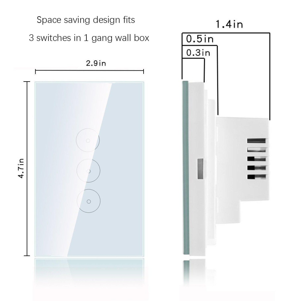 3 Gang Smart Home Wall Light Switch Touch Control Glass Panel Us Plug Intl