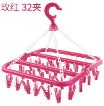 32 clip folding hanger adult windproof laundry clothes rack plasticmulti-clip children's socks rack hanging baby home drying rack