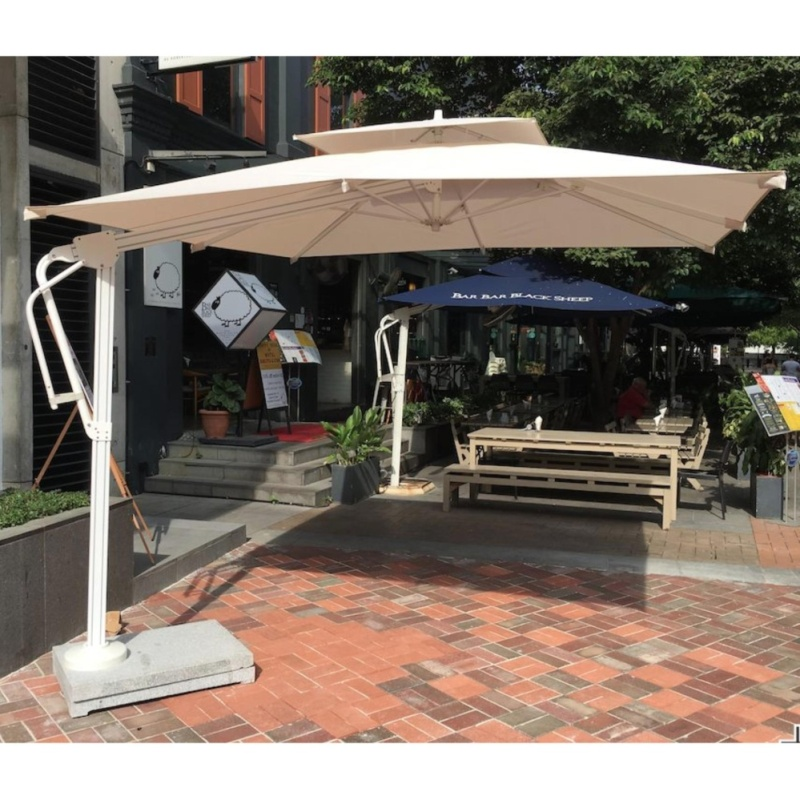 3x3m Heavy Duty Cantilever Side Post Umbrella with Marble Base