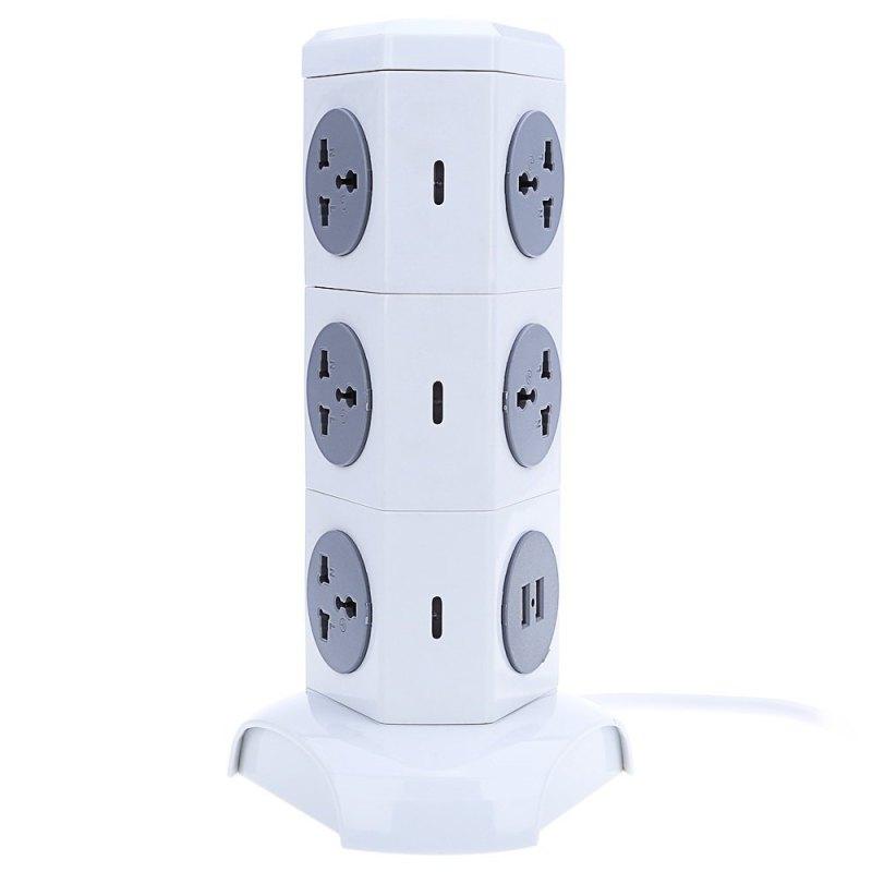 Alardor ALD - 3W6K - L 180 Degree Rotating Socket Intelligent Vertical Surge Protection Power Strip - EU PLUG (WHITE) (Intl) - intl