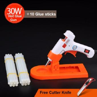 Harga All-in-One pack Electric Hot Melt Glue Gun and Knife with 10 X 20cm Glue Stick for handcraft and repair job