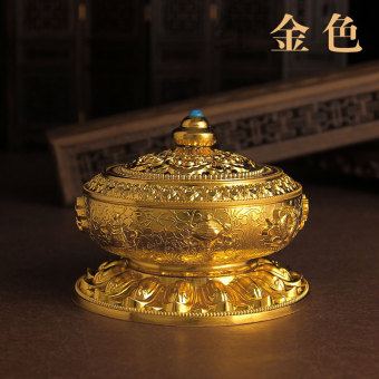 Alloy copper plate incense censer eight auspicious ornaments Sandalwood