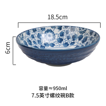And wind glaze color hand-painted large thread rice bowl