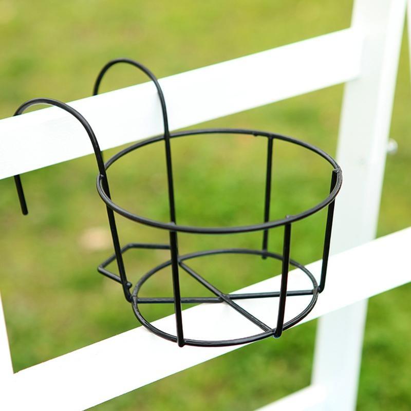 Balcony Hanging Racks Round Cross Flower Pot Rack Railing Fence Garden    Intl