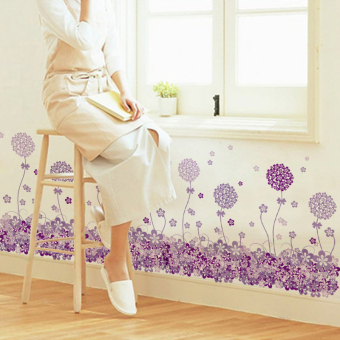 Baseboard Wall Stickers Bedroom Waterproof Purple Flower Decorative Products Living Room Corridor Sticker Selfadhesive Wallpaper