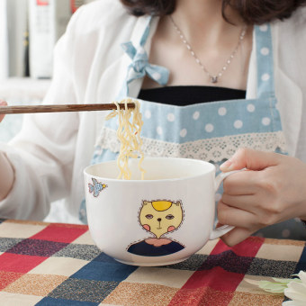Cartoon large student breakfast cup instant noodle bowl