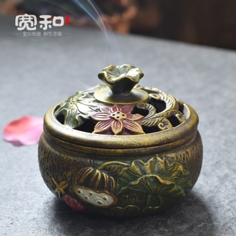 Ceramic old-style painted home plate incense censer Lotus Incense Burner