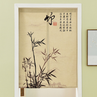 Chinese Linen curtain half-curtain Japanese-style entrance feng shui off the curtain bedroom living room kitchen air conditioning wind curtain fabric