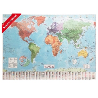 "Harga Collins ""The World"" Map - 98 x 68cm"