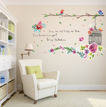 Color Flower Bird Cage Wall Stickers Creative Living Room Bedroom Childrens Nursery Warm Decorative Landscaping