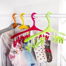 colorful windproof multi-function hanger Household plastic clothes hangers clothing children socks drying rack airer