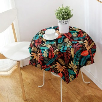 Country cotton linen round coffee table tablecloth dining table cloth